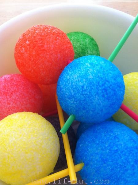 colored styrofoam balls